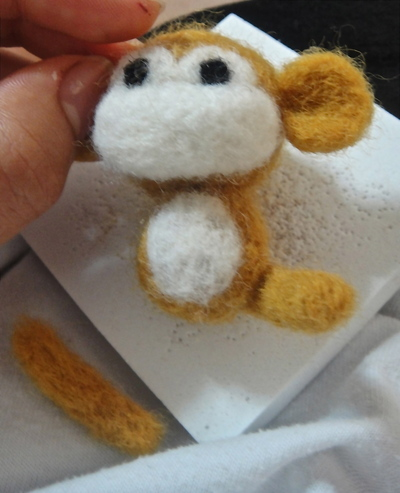 How to make a monkey plushie. Felted Monkey - Step 16