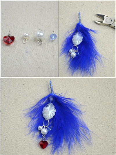How to make a feather earring. Diy Feather Earrings Feather'S Blue Combined With Pearl'S Pure White - Step 3