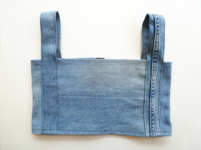How to make a recycled top. Diy Crop Top   Recycling Old Jeans Legs - Step 11