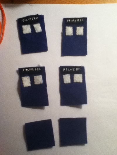 How to sew a fabric character charm. Tardis Keychain - Step 1
