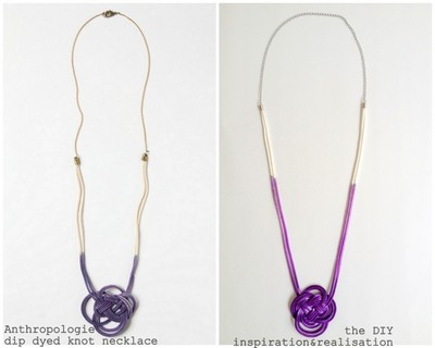 How to braid a necklace. Anthropologie Inspired Dip Dyed Knot Necklace - Step 9