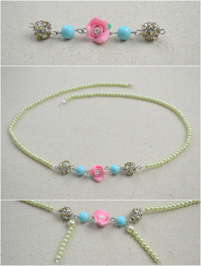 How to make a pearl necklace. Ivory Pearls Necklace Adorned By Flower And Turquoise  - Step 5