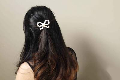 How to make a hair bow. Delicate Pearl Bow Hair Ornaments  - Step 7