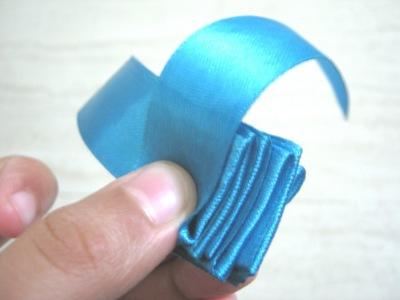 How to make a fabric bracelet. Satin Ribbon Rose - Step 6