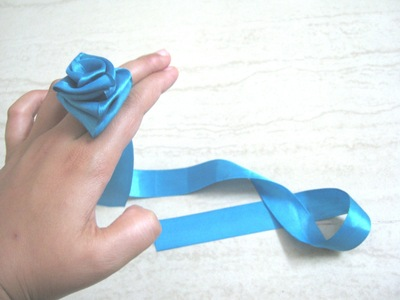 How to make a fabric bracelet. Satin Ribbon Rose - Step 9