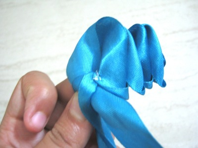 How to make a fabric bracelet. Satin Ribbon Rose - Step 11
