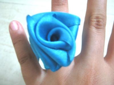 How to make a fabric bracelet. Satin Ribbon Rose - Step 12