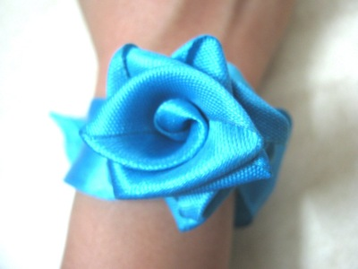 How to make a fabric bracelet. Satin Ribbon Rose - Step 13