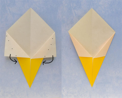 How to fold an origami food. Origami Ice Cream Cone - Step 2