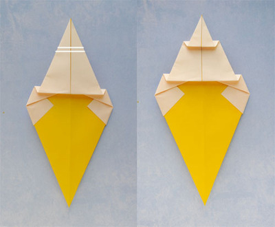 How to fold an origami food. Origami Ice Cream Cone - Step 4
