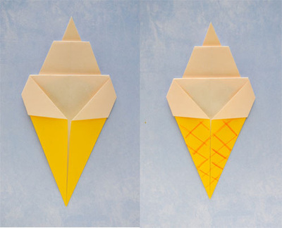 How to fold an origami food. Origami Ice Cream Cone - Step 5