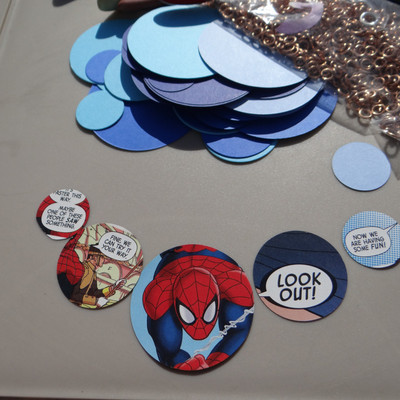 How to make a recycled necklace. Comic Statement Necklace - Step 2