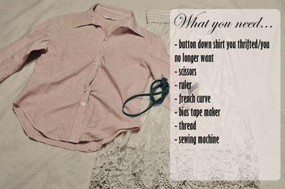 How to make a button-up top. Cropped Button Down Refashion - Step 1