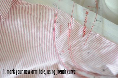 How to make a button-up top. Cropped Button Down Refashion - Step 2