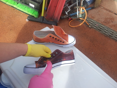 How to paint a pair of painted shoes. Bleached Lyric Sneakers - Step 1