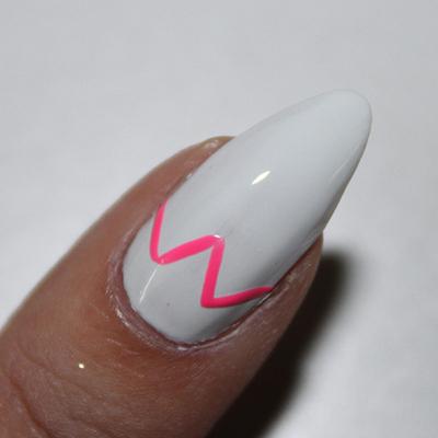 How to paint a geometric nail manicure. Neon Geometric Nails - Step 2