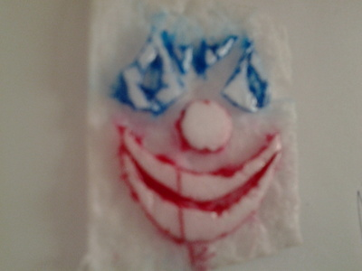 How to make a mixed media. Scary Clown Print Animals - Step 2