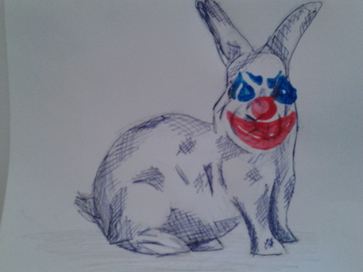 How to make a mixed media. Scary Clown Print Animals - Step 3