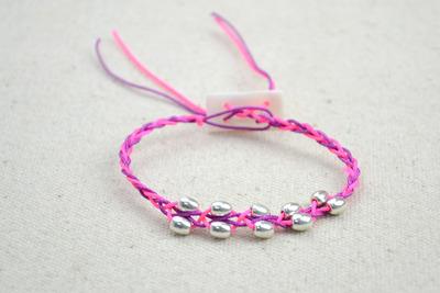 How to braid a braided bead bracelet. Free Crochet Bracelet Pattern With Beads - Step 5