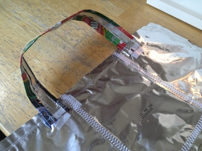 How to make a recycled tote. Juice Pouch Tote - Step 21