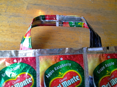 How to make a recycled tote. Juice Pouch Tote - Step 23