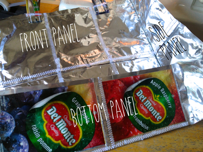 How to make a recycled tote. Juice Pouch Tote - Step 27
