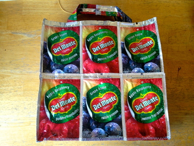 How to make a recycled tote. Juice Pouch Tote - Step 32
