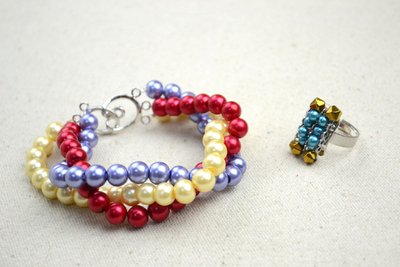 How to make a pearl bracelet. Handmade Beaded Jewelry Designs Simple Pearl Bracelet And Ring Set  - Step 5